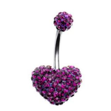 Crystal Paved Double Heart Belly Button Ring