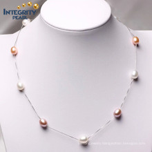 Mixed Color 7-8mm AAA 925 Silver Teardrop Pearl Necklace