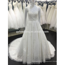 China Supplier Crystal Tull Sheer Beaded L;ace Short Sleeves A-Line Wedding Bridal Gowns 2016 XZ258-4