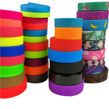 Cute Paw Printed Pattern Pink Anti Proof PVC Coated Polyester Webbing 25 mm 1 inch width