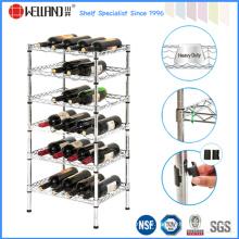 High Quality Adjustable 4 Bottle Flat Metal Wine Rack