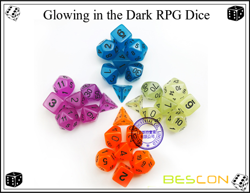 Glowing In Dark 7pcs Polyhedral Dice Set D4-D20-3#