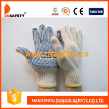 Natural Cotton with Polyester String Knit Gloves with Logo Dkp157