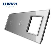 Роскошное серое закаленное стекло Livolo 223мм * 80мм 1 + 1Gang & 1 рама Стеклянные панели для продажи VL-C7-C1 / C1 / SR-15