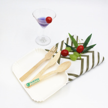 EVEN Factory Disposable Bamboo Cutlery Spoon Fork Knife Tableware Set For Party Use