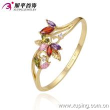 Joyería de la manera 14k oro-plateó la flor colorido zirconia brazalete cúbico