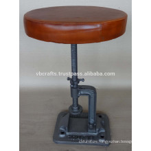 industrial Swivel Stool with round leather seat cast iron base