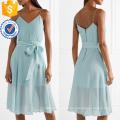 Спагетти ремень V-образным вырезом синий хлопок Летнее Миди платье с бантом оптом производство модной женской одежды (TA0308D)
