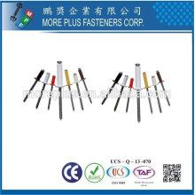 Hecho en Taiwán Acero inoxidable Cobre Latón Color Ciego Remache Tipo abierto Aluminio Acero DIN Y GB