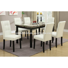 White leather chair and marble top dining table set XYN1477