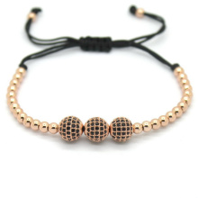 Famous Brand Women Bracelets 8mm Pave Setting Black CZ Bead 18K Rose Gold 4mm Round Bead Braiding Bracelet For Men