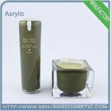 Nuevos envases de acrílico de la botella de la botella de la envoltura cosmética al por mayor del diseño al por mayor