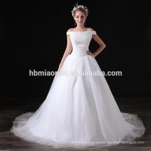 Vestido largo de la gasa blanca de las lentejuelas de la gasa del precio barato de 2017 de alta calidad para el banquete de boda