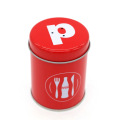Red Round Small Tin Box