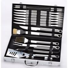 Trousse d'accessoires pour barbecue en acier inoxydable de 24 pièces - Comprend une trousse de rangement en aluminium pour ustensiles de barbecue