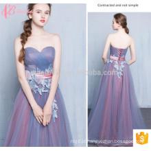 Western Style Long Purple Em estoque Lace Appliqued Off-Shoulder Bridesmaid Dress