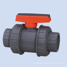 Válvula de esfera do punho da alavanca do upvc do plástico da união dobro