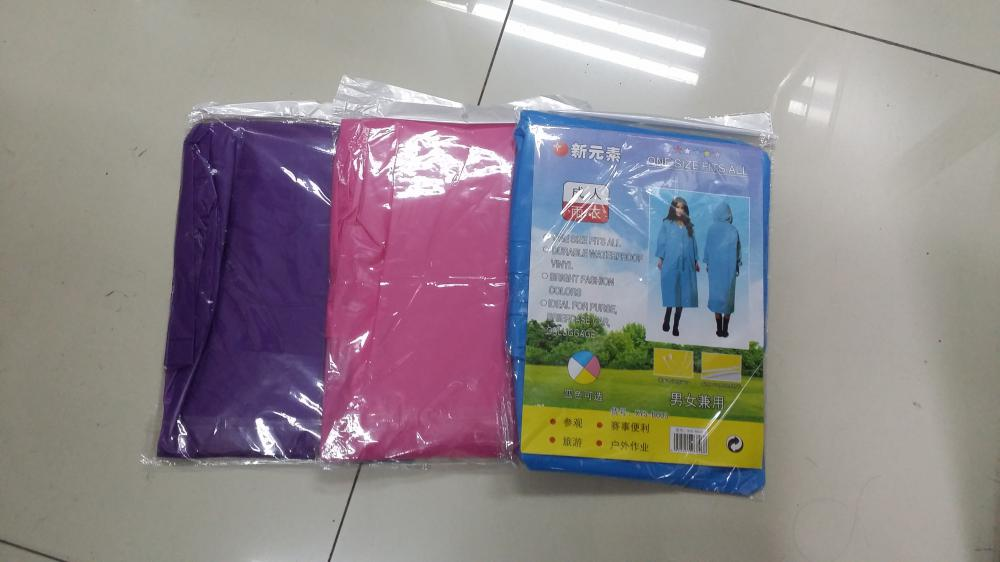 Different color raincoat packing bag with card