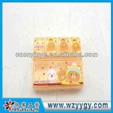 OEM rechteckigen Kunststoff gedruckten Pillenbox für Geschäftsreise oder auf Reisen
