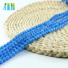 China Wholesale Price X000709 Sapphire Ball Round Cat Eye Beads Glass Cats Eye Gemstone Necklace