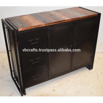 Industrial Metal Sideboard with Recycled wood sideboard