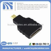 Plaqué or HDMI femelle à micro HDMI adaptateur mâle adaptateur