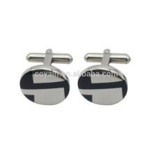 Silber Edelstahl Gravierte Emaille Rund Logo Manschettenknöpfe