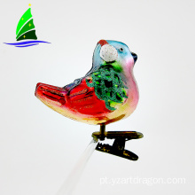 Glass Bird Ornament Clip-on Decoração Art Glass