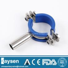 Support de tuyau rond sanitaire avec insert en caoutchouc bleu
