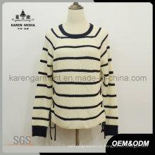 Jersey de manga larga a rayas con cuello redondo y punto jersey de mujer
