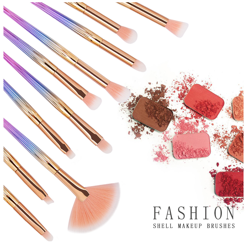 10 Piece Shell Makeup Brushe Sets 1