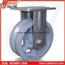 4 pulgadas a 8 pulgadas V-Groove hierro fundido fijo ruedas