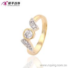 Moda elegante dois - cor de pedra mulheres jóias anel de dedo com zircão grande -13582