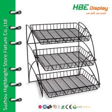 Wire tray display rack food display shelf