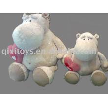 hipopótamo de peluche relleno con corazón, juguete de animales de San Valentín suave, caballo de río