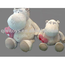 stuffed plush hippo with heart, soft valentine animal toy,river horse