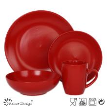 16PCS Red Round Matte Colorful Ceramic Dinner Set