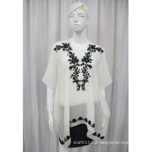 Senhora moda algodão poliéster voile malha camisa bordado (yky2227)