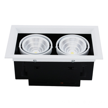 Lámpara de aluminio de doble cabezal COB Led Grille Downlight
