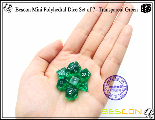 Bescon Mini Polyhedral Dice Set of 7--Transparent Green-5