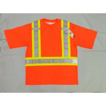 High Visibility Safety T shirt with Mic Tabs and Reflective Strips, Meets ANSI/ISEA Standards, Orange, L