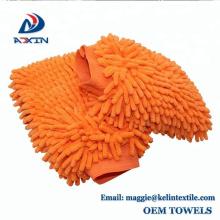 Luva de limpeza de Microfibra Chenille Premium 2-Pack luva de lavagem de carro livre de arranhões laranja