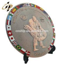 Custom dubai antique copper 3d metal souvenir sports plates