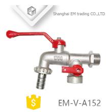 EM-V-A152 níquel polimento macho união latão três maneira bibcock torneiras