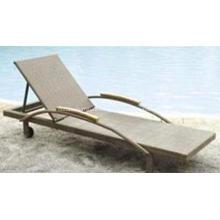 Modern Chaise Lounge Pe Garden  Rattan Sunbed