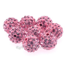 Best Quality DIY 6MM 8MM 10MM Pink Clay Paved Shamballa Loose Bead