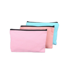 Customized cotton blank canvas toiletry bags makeup zipper cosmetic bag toothbrush bag