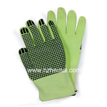PVC-Punkte schneiden widerstandsfähige Handschuhe Hi-Vis Green Sicherheits-Arbeitshandschuh