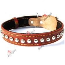 Marrom colar de cão de couro genuíno para pet acessórios (PC-16)