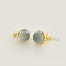 Venta al por mayor Vermeil oro semi preciosas pendientes de perlas de piedras preciosas, 925 de plata esterlina piedras preciosas bisel pendientes joyas fabricante